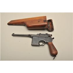 Mauser Broomhandle semi-automatic pistol with wood stock, 7.65mm caliber, 5.5