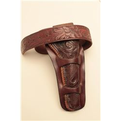 H.H. Heiser hand tooled double loop holster and Ranger belt