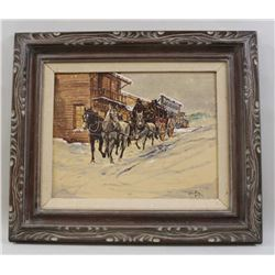 Original oil on canvas in Western style of stagecoach in