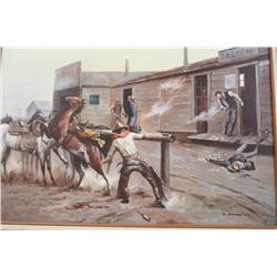 Gunfight in the Street original oil painting signed lower right L. Patten. Approx.