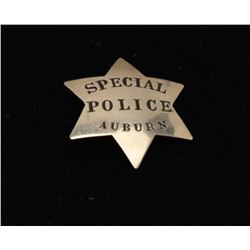 Vintage 6 point star badge marked Special Police/Auburn (California). Est.: