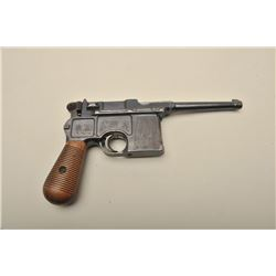 Prototype early Broomhandle Mauser semi-automatic pistol, early magazine, pre-1898, 7.65mm