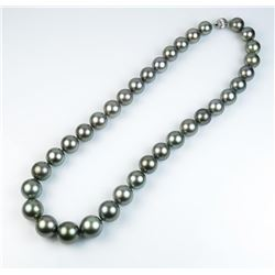 Excellent matching Black Tahitian South Sea Pearls of very good