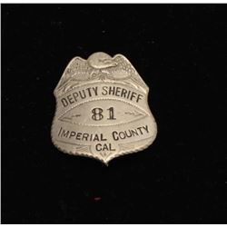 Vintage American Eagle over shield badge marked Deputy Sheriff/81/Imperial County/Cal.