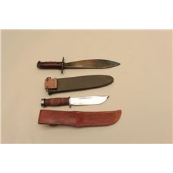 Militaria lot including a minty Cattaraugus fighting knife with unmarked
