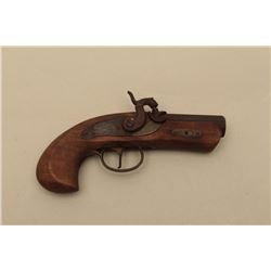 Aged replica percussion single shot derringer, .45 caliber, approximately 8