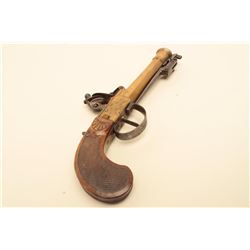 Continental flintlock blunderbuss pistol with cannon muzzle and spring bayonet