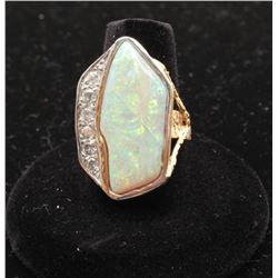 One designer ring set with a fine large opal and