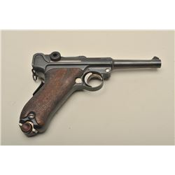 Brazilian Luger (by DWM) semi-automatic pistol, 9mm caliber, 4 barrel,