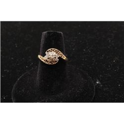 14k yellow gold filigree ring set with 5 fine quality