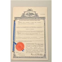 U.S. patent papers in the name of John M. Browning,