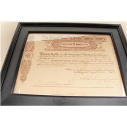 The Monte Video Telephone Co. limited stock certificate. London 1898.
