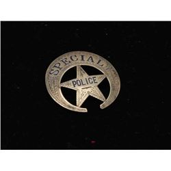 Vintage crescent moon over 5 point star badge, engraved and