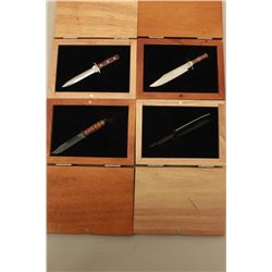 Lot of miniature knives ad described: 1. Kabar 2. British 3. Bowie 4. Spearpoint