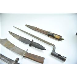 Lot of 5 knives and bayonet. Chinese knife with flared