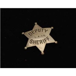 Vintage 6 point star with ball tips badge marked Deputy/L.A.
