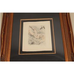 Framed and mattered original limited edition copper plate etching on