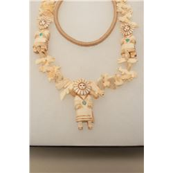 Beautiful Zuni Indian necklace with 3 carved bone Katchinas and