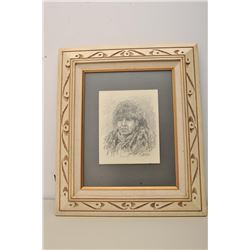 Original pencil sketch signed Ranson depicting subject of Indian brave