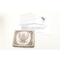Ornate sterling silver handmade cigarette case showing Indonesian Air Force