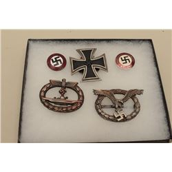 Lot of 5 Nazi emblems probably 1960-70s. Old repros from