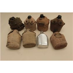 Lot of 8 U.S. military canteens, 7 with covers; mostly