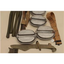 Misc. military gear lot including mess kits, tent stakes, entrenching
