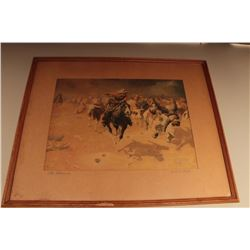 Framed and matted 1913-dated color print entitled The Stampede by