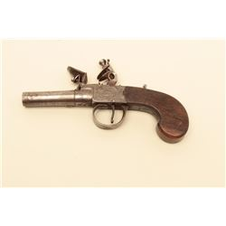 Center hammer flintlock pocket pistol signed Jover-London. Measures 7 overall