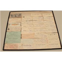 Confederate Currency display, bank notes and Confederate bills. The lot