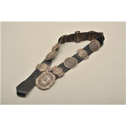 Concho belt with 11 sand cast conchos plus belt buckle