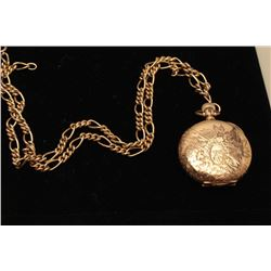 Antique Elgin Pocket Watch with engraved 14K gold case and