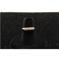 14k yellow gold ladies pyramid ring set with 18 diamonds
