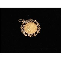 $5 indian coin pendant with 14kt holder. Est.: $700-$1400