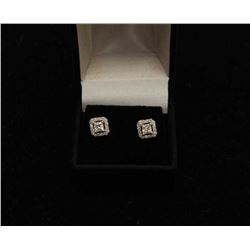 Diamond earings .50 center princess cut with  total surround diameter halo 14kt wg.  Vintage. Est.: