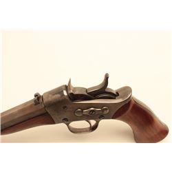 "Remington Model 1871 Rolling Block pistol,  converted to .22 caliber, 8"" barrel, grey  patina to met"