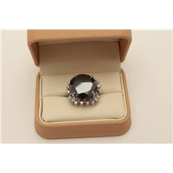 Exceptionally large 28.26 carats round 'Black' Diamond set in a