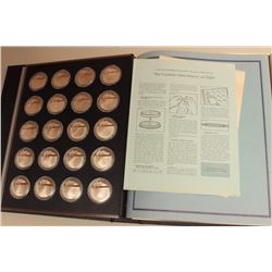 The Franklin Mint History of Flight First  Edition Proof set of 100 solid Sterling  Silver coins in