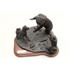 Kuma Hunt II bronze titled The Challenge by T. Acevedo,