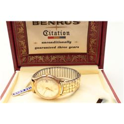 Vintage Benrus watch in box. 14K. Est.: $100-200