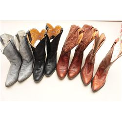 Lot of 4 leather boots Size 10.5. Tony Llama  and Nacoma. Good to very good. Worn. Est.:  $100-$300.