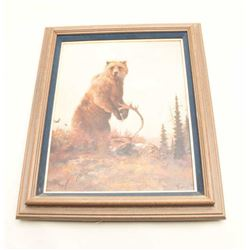 Original oil painting of brown bear on Kill signed lower