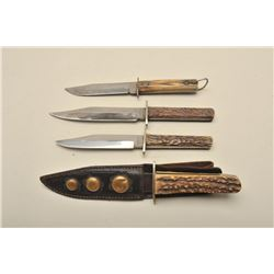 Lot of 4 stag handled belt knives circa late  19th to early 20th century with scabbard.  Excellent u