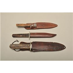 "Joseph Allen marked shefield england stag  grips w/scabbard 11"" fair to good sharpened.  Cambridge c"
