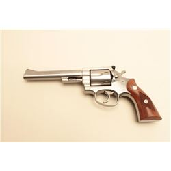 "Ruger Security Six DA revolver, .357 Magnum  caliber, 6"" barrel, stainless, checkered wood  medallio"