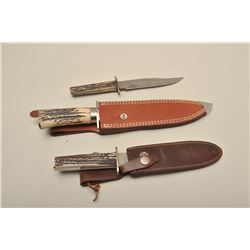 "Lot of contemporary knives. Rock creek  w/scabbard 14"" overall fine condition.  Russell w/scabbard 1"