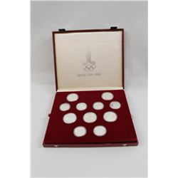 Cased set of 28 Moscow 1980 Olympics  commemorative uncirculated coins. 22.49 OZ.  Pure silver. Est.