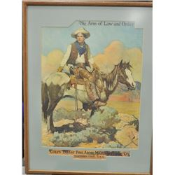 Tex & Patches- Colt Advertiser, later edition  as reprint, expertly framed, note no  artist's signat