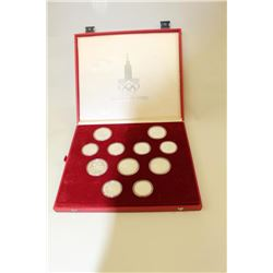 Cased set of 28 Moscow 1980 Olympics  commemorative proof coins. 22.49 OZ. Pure  silver. Est.: $300-