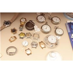 Box lot of Pocket and Wristwatches returned  to estate when Collector died, all need  repair, Rockfo